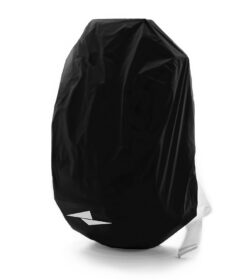 A black rain cover for the solid gray backpack