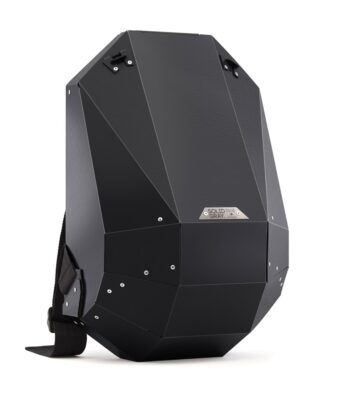 futuristic hard shell backpack by solid gray