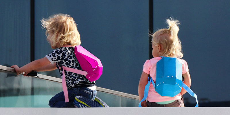 modern hard-shell backpack for kids.